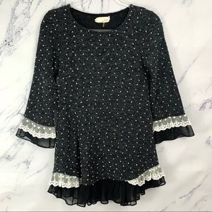 Anthropologie A'Reve Lace Trim Black Tunic